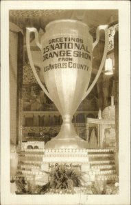 Riverside? Orange Show Los Angeles County Giant Trophy Real Photo Postcard xst