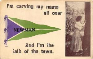 I'm the Talk of the Town in Newman Wisconsin~Carving Initials~1914 Pennant PC