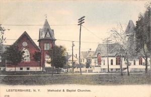 Lestershire New York Methodist Baptist Churches Antique Postcard K13241