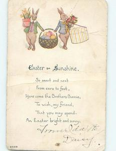 Bent c1910 Easter HUMANIZED BUNNY RABBITS CARRY HATBOX AND BASKET HL6917