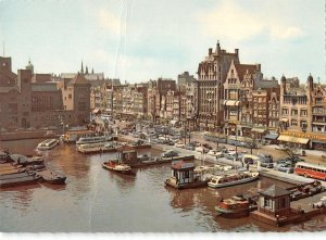 B109540 Netherlands Amsterdam Damrak Harbour Boats Bateaux Cars Voitures