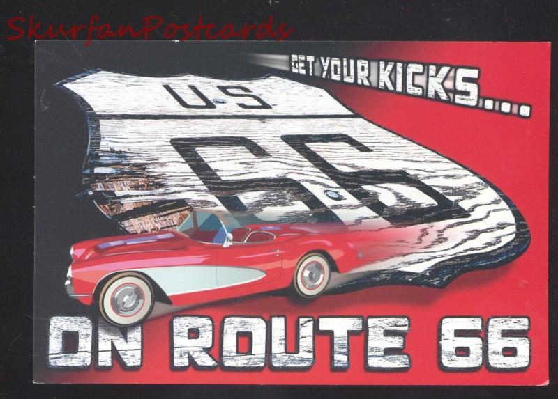 GET YOUR KICKS ON ROUTE 66 1958 CORVETTE POSTCARD