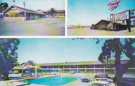 California Palo Alto El Rancho Palo Alton Motel With Swimming Pool Hippostcard