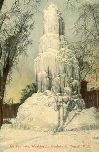 MI - Detroit, Ice Fountain on Washington Boulevard