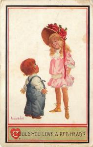 Bernhardt Wall~Could You Love a Red-head?~Short Boy to Tall Blonde Girl~1911 PC