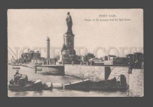 079056 EGYPT LIGHTHOUSE Port Said Statue De Lesseps Vintage PC