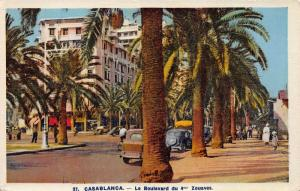Le Boulevard du 4 Zouaves, Casablanca, Morocco, Early Postcard, Unused
