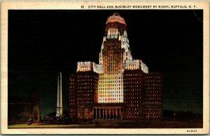 1941 Buffalo, New York Postcard City Hall & McKinley Monument by Night Linen