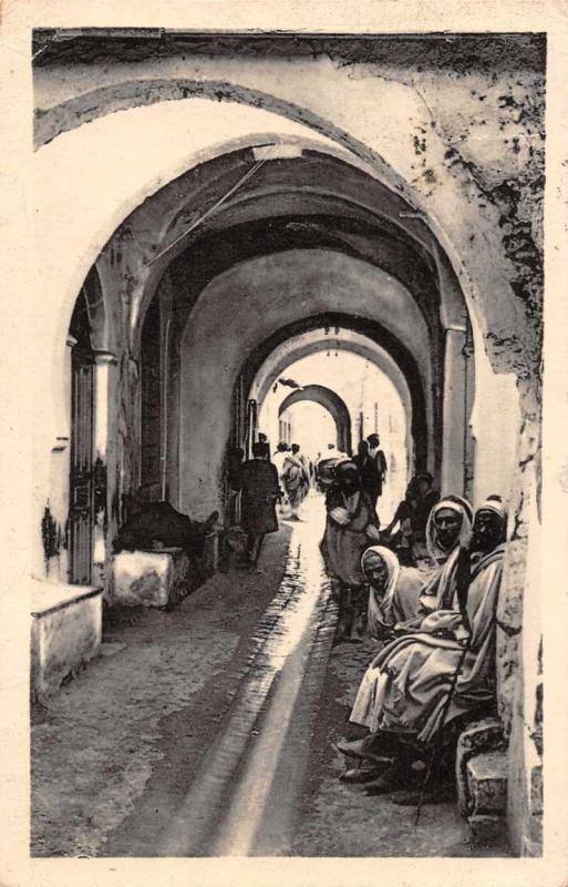Sfax Tunisia Rue de Bey Alleyway Antique Postcard J67809