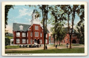 St Johnsbury Vermont~Union Schools~Large Group of Students in Front~1920s