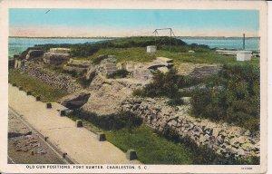 Charleston SC, Civil War Interest, Fort Sumter Gun Positions, Teich Art 1920s