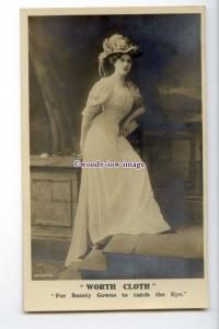 su3378 - Worth Cloth for Dainty Gowns to catch the Eye, Lady's Gown - postcard