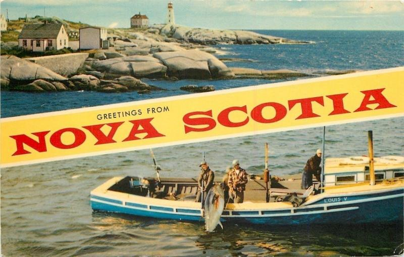 Nova Scotia Canada~Banner Greetings~Lighthouse~Fishermen on Louis V~1960s PC