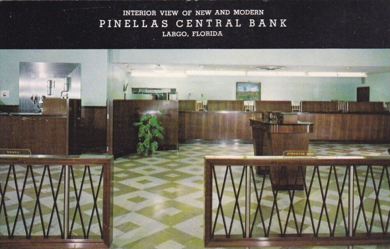 LARGO, Florida, 40-60s; Pinellas Central Bank, Interior View of New and Moder...