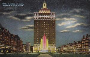 New Jersey Atlantic City Hotel Claridge At Night 1953
