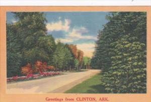 Arkansas Greetings From Clinton With Road Scene