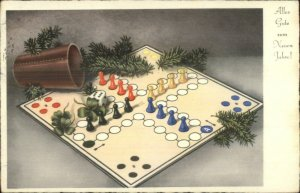 Foreign New Year - Board Game Pieces Dice etc c1930s-40s Postcard