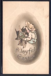 A Joyful Easter,Boy Painting Easter Egg