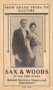 Couple: Sax & Woods~Grand Opera Harmony Singers to Ragtime~Art Nouveau c1910