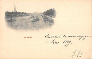 US3196 France La Seine River Boats Panorama Bateaux General view paris