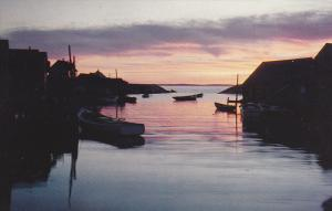 Showing Little Fishing Cove, Dawn-Day-Dusk, Peggy's Cove, Nova Scotia, Canada...