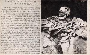 Cheddar Caves~Taunton Somerset UK~Archeologist Discovery~Man Skeleton~1908 RPPC