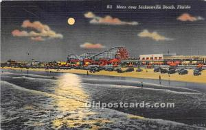 Florida, FL, USA Postcard Moon over Jacksonville Beach 1942