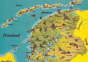 Netherlands Friesland Stadtplan Map, Nordsee Waddensee Groningen