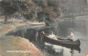 LPS42 Lynn Massachusetts Flax Pond Canoeing Hand Colored Postcard