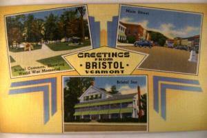 Unused Linen BRISTOL INN & MAIN STREET in Bristol Vermont VT postcard y2812