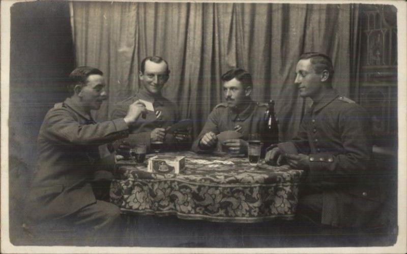 Men Playing Cards Liquor Bottles Melior Cigar Box on Table c1910 Postcard RPPC