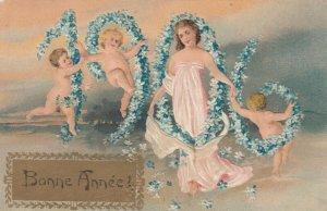BONNE ANNEE, PU-1905; 1906 in flowers, Woman & nude children, PFB 5407