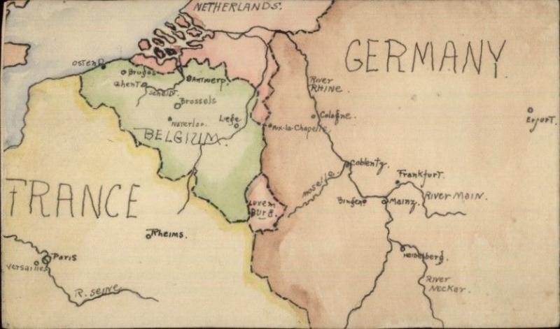 Handmade Hand Colored - MAP of EUROPE France Germany Belgium ...