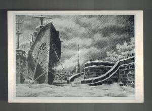 1943 Mint WW 2 USSR SOviet Union BW Postcard Ship Docked Next to Stairs Art