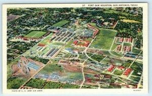 San Antonio FORT SAM HOUSTON, Texas TX ~ Aerial View  c1940s Linen Postcard