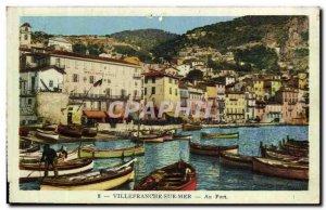Old Postcard Villefranche Sur Mer At Boat Harbor