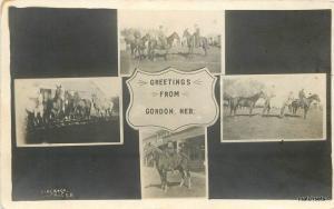 C-1910 Gordon Nebraska Multi View Horses Sheridan County Slack RPPC 9781