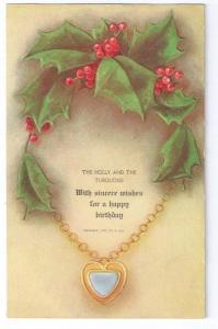 Embossed Birthday Postcard Holly and Turquoise R. Hill 1907