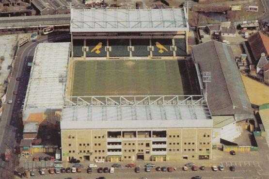 Norwich City Football Club Spectacular 1980s Aerial Birds Eye Postcard