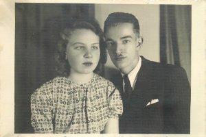 Young couple social history photo postcard