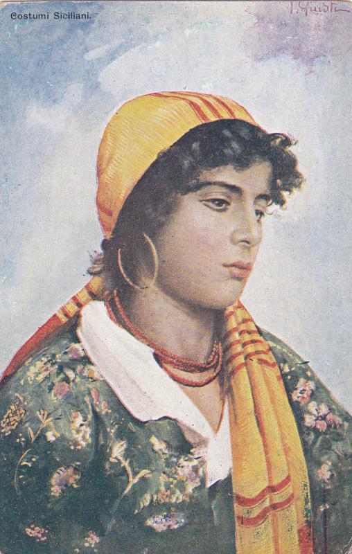 AS: Female portrait , Costumi Sicillani , Italy , 00-10s PALERMO
