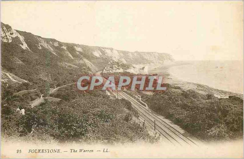 Postcard Old Folkeston the warren