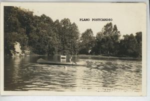 SULPHUR SPRINGS, ARKANSAS LAKE with CANOE RPPC REAL PHOTO POSTCARD