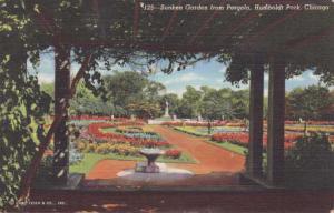 Sunken Garden at Humboldt Park - Chicago IL, Illinois - pm 1943 - Linen