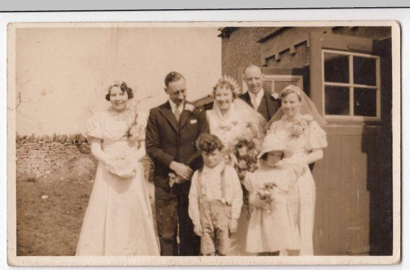 Unidentified Anonymous Wedding Group RP PPC, Unused, C1940's, Social HIstory