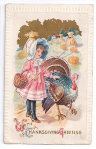 Thanksgiving Girl Turkey Pumpkin Field Vintage embossed 1911 J Herman Postcard