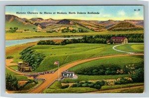 Medora ND- North Dakota, Chateau de Mores, Aerial View, Chrome Postcard