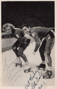 Champion Ice Skater Skating Double Hand Signed Vintage Photo