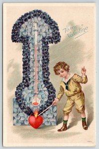 Victorian Valentine~Violets Fantasy Flower Thermometer~Boy Lights Heart on Fire