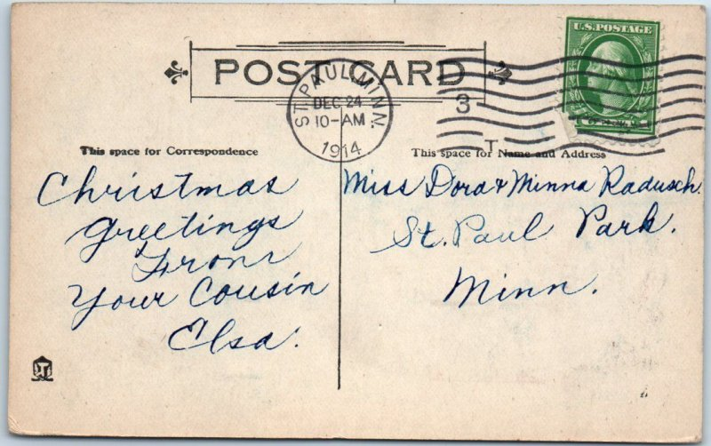 Vintage SANTA CLAUS Postcard Red Suit, Riding Reindeer A CHRISTMAS WISH 1914
